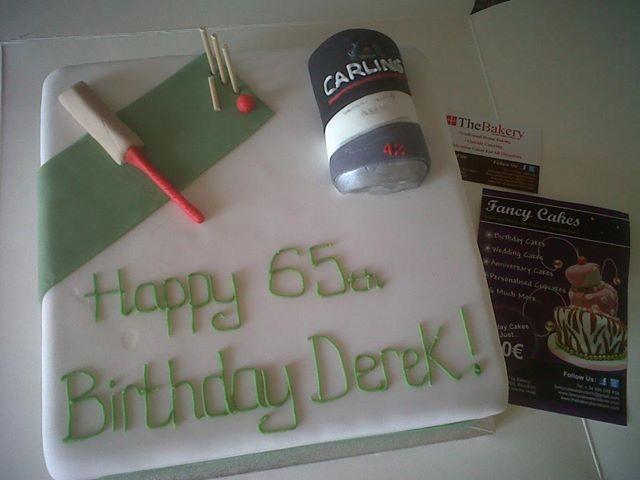 Amazing Cricket Beer Themed 65Th Birthday Cake Fancycakesbenidorm Personalised Birthday Cards Veneteletsinfo