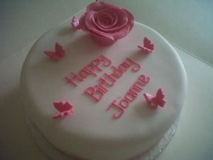 Pink Rose Birthday Cake on The Costa Blanca