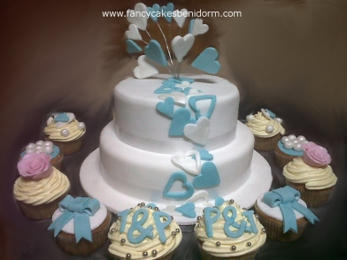 Shooting Hearts Wedding Cake & Personlised Cupcakes Benidorm