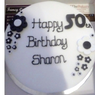 Black & White Petal Birthday Cake Benidorm