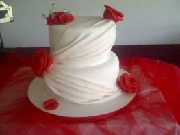 Handmade Rose & Drape Wedding Anniversary Cake Benidorm